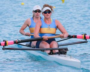 The Otago University club's senior women's pair, Caoimhe Dempsey (front)  and Sydney Telfer,...