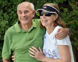 Roger Robinson and wife Kathrine Switzer in Dunedin yesterday. PHOTO: PETER MCINTOSH