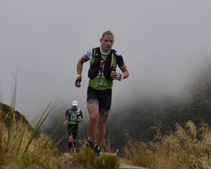 Simone Maier crosses over Goat Pass on her way to winning the Longest Day in the Coast to Coast....
