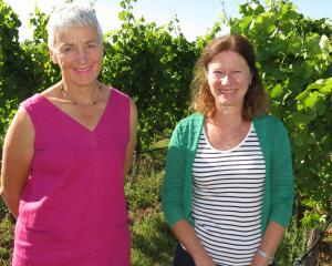 Women in Wine New Zealand representatives chairwoman Katherine Jacobs (left) and national co...