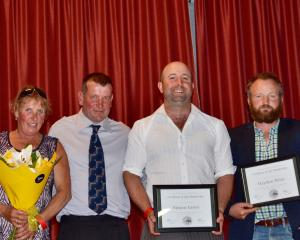 Nightcaps Young Farmers Club's life members (from left) Pam Bennett, Willy Buchanan, Simon Greer...