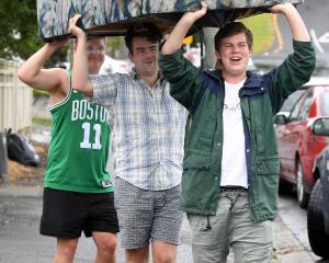 Third-year students (from front) James Copland, of Timaru, Luke Tatley, of Tauranga, and Logan...
