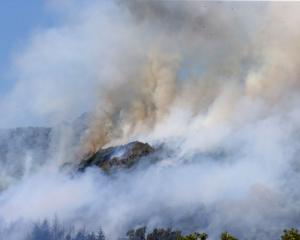 The fire in Walters Bluff gets in to dry land in Nelson as forest fires continue to burn across...