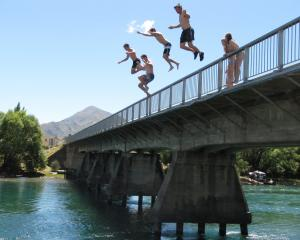 Young people have been jumping off the Albert Town bridge for years. Photo: ODT files