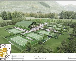 An artist's impression shows Bridesdale Farm Developments Ltd's proposed Winton Tennis Academy,...