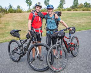 University of Otago staff members Chris Higgs (left) and Matt Dick prepare to tackle a 600km...