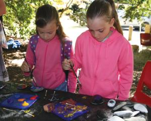 IMG 3941: 7 year old Nova and her sister 9 year Brena Hunter of Te Anau enjoying painting rocks...