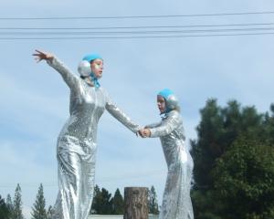 Lena Hawthorne (left) and Brooklyn Harrington combine during their stilts performance in Ranfurly...
