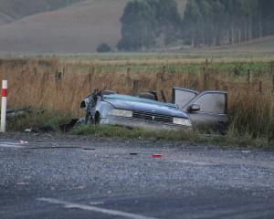 The crash site on Manuka on SH8 near Milton. Photo: John Cosgrove