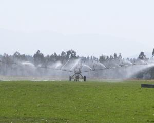Travelling irrigator on the Waitaki Plains. Photo: ODT files