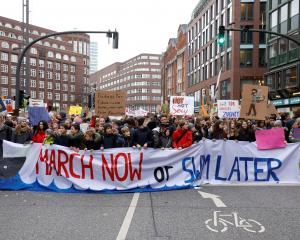 Pupils in Hamburg, Germany take part in a protest calling for urgent measures to combat climate...