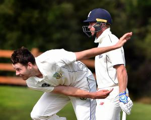 Otago Volts co-captain Jacob Duffy bowls at the University of Otago Oval as Auckland batsman...