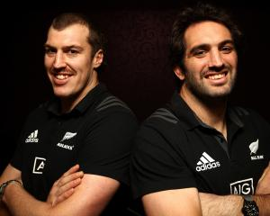 All Black locks Brodie Retallick (left) ad Sam Whitelock front at a media session in Dublin last...