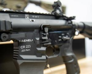 An AR-15 style rifle on display at a hunting and shooting trade fair in Germany. Photo: Getty