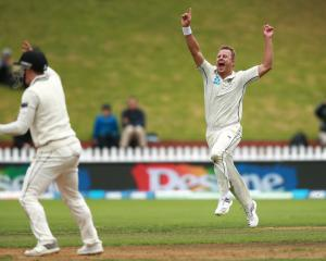 Neil Wagner celebrates a wicket against Bangladesh. Photo: Getty