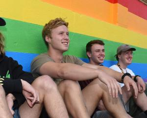 Hyde St residents and students (from left) Jack Holden (21), of Hastings, Nik Konlechner (21), of...