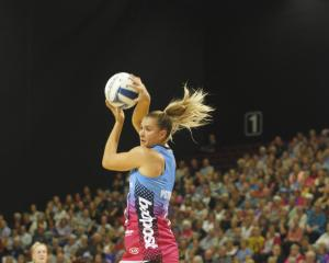 South African Lenize Potgieter of the Southern Steel receives the ball in Monday night's game...