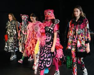 Models show off the designs of Manchester Metropolitan University graduate Rebecca Carrington at...