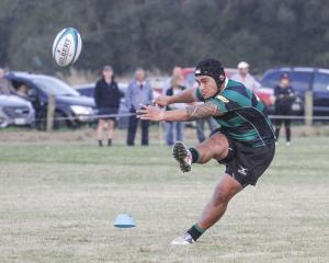 Maheno goal kicker Sam Tupou looks to convert one of Maheno's tries against Valley at Maheno on...