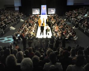 Models on the catwalk during the iD Dunedin Emerging Designer Awards show, at the Lion Foundation...