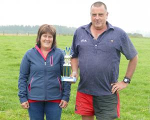 Joy and Nathan Dodd with their trophy from the carcass competition at the Gore A&P Show....