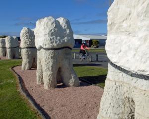 Dunedin's last public sculpture, the Harbour Mouth Molars. Photo: ODT files