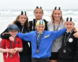 Young Otago surf life-savers. PHOTO: PETER MCINTOSH