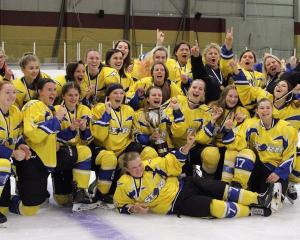 Southern Storm celebrate victory in the National Women's Ice Hockey at the Dunedin Ice Stadium on...