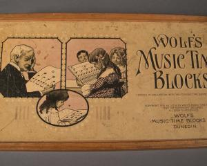 A set of Wolf's Music Time Blocks (above and below) which are on display on the 20th century wall...