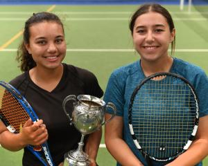Otago Open women's singles winner Ayesha Horley (left) and runner-up Rileigh Field, both of...