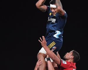 Highlanders flanker Shannon Frizell wins a lineout during his team's round nine Super Rugby match...