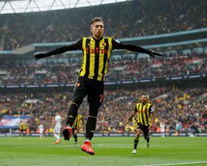 Watford's Gerard Deulofeu celebrates after scoring their third goal against Wolverhampton.  Photo...