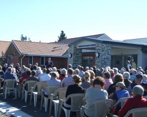 Clark addresses Ranfurly residents yesterday at the opening of Maniototo's revamped medical...
