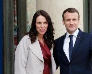 NZ Prime Minister Jacinda Ardern and French President Emmanuel Macron. Photo: AP