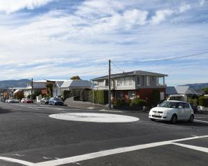 Painted roundabouts appear on intersections throughout Dunedin including in David and Thorn Sts,...
