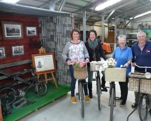 Lawrence Vintage Bike Display project members (from left) Sarah Homer, Mel Foster, project leader...
