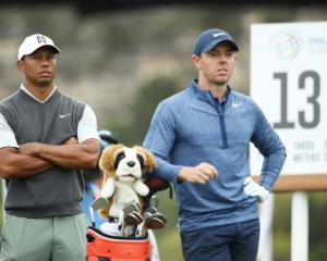 Tiger Woods (L) and Rory McIlroy on the 13th tee during the fourth round of the World Golf...