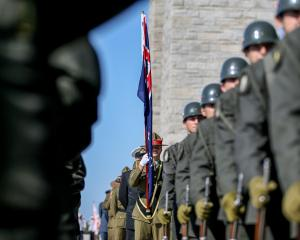 Soldiers from Australian and New Zealander units attend a ceremony at Canakkale Martyrs' Memorial...