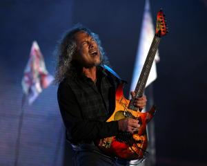 Metallica guitarist Kirk Hammett in action during the band's set at the Glastonbury Festival....