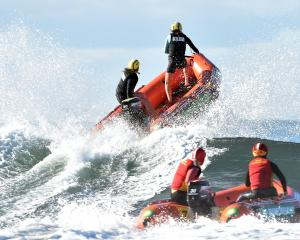 St Kilda open women's mass rescue team Natalie Ashton (left) and Sarah Thomas charge through the...