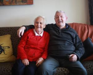 Aura and George James of Oamaru celebrate their 70th wedding anniversary at Iona Home. PHOTO:...
