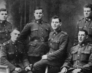 Southland and Otago men in Cologne, Germany. Standing (from left): Lance-corporal D. Stark ...
