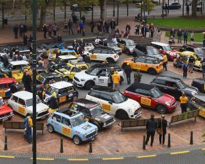 Pork Pie Charity Run Minis gather in the Octagon, in Dunedin yesterday. Photo: Gregor Richardson