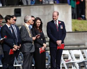 Prince William has arrived, flanked by PM Jacinda Ardern and Auckland Mayor Phil Goff. Photo: NZME