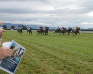 Stirling Lady leads the way on her way to winning race 3 at the Riverton Easter Carnival. Photo:...
