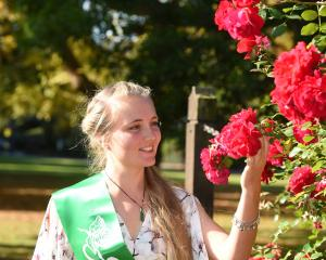 Otago Rose of Tralee representative Rose-Antoinette Gilbert (27) takes a break at the Dunedin...
