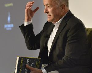 Writer Michael Shermer makes a point while talking to about 70 people at the University of Otago...