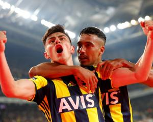 Fenerbache's Elif Elmas celebrates scoring a goal against Galatasaray, at Sukru Saracoglu Stadium...