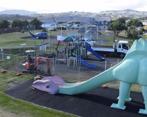 Dunedin City Council contractors Numat progress a playground upgrade at Marlow Park in St Kilda...