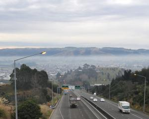 A cold windless winter day on the Taieri results in a layer of smog. Photo: Christine O'Connor